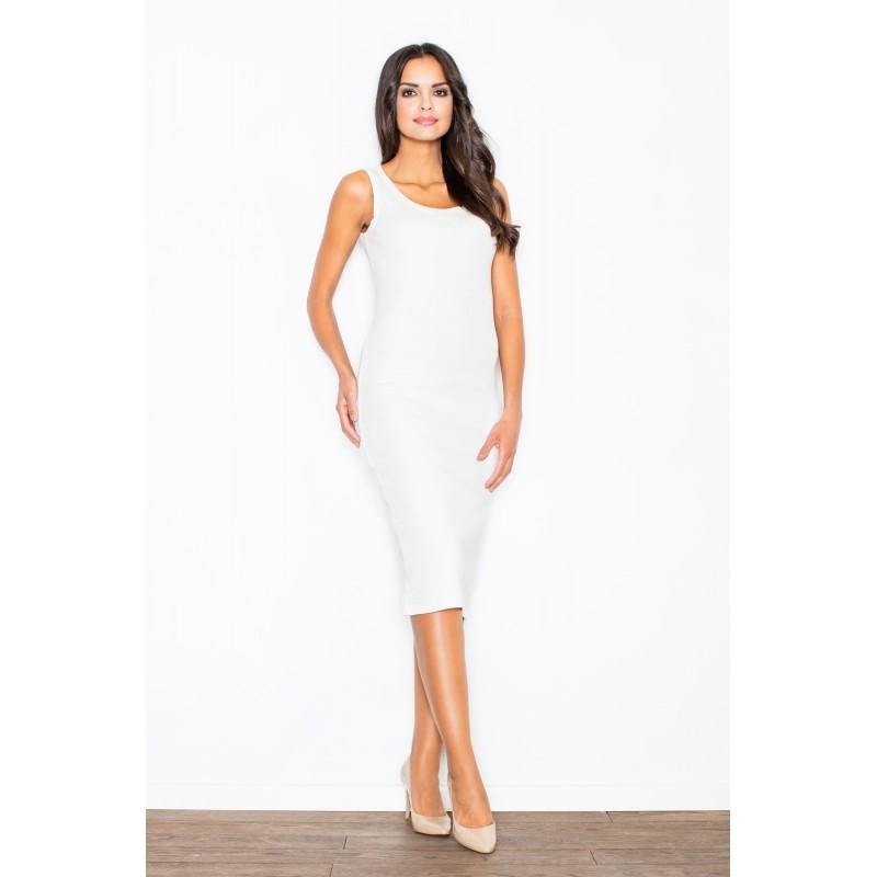 d8f4f131a Světlo krémové úzké dámské letní šaty bez rukávů