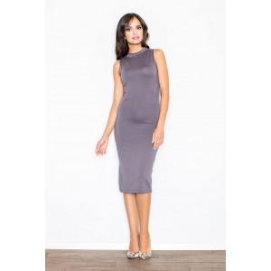Dámské polodlouhé trendy šaty šedé barvy s odhalenými rameny
