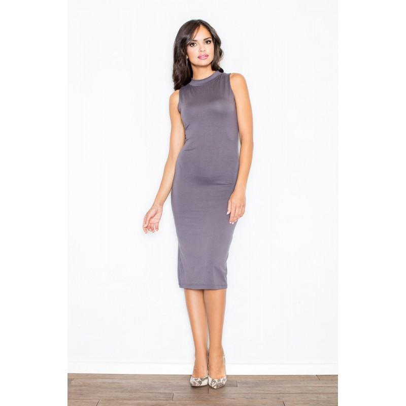 702117918 Dámské polodlouhé trendy šaty šedé barvy s odhalenými rameny