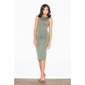 Zeleno olivkové dámské polodlouhé šaty bez rukávů