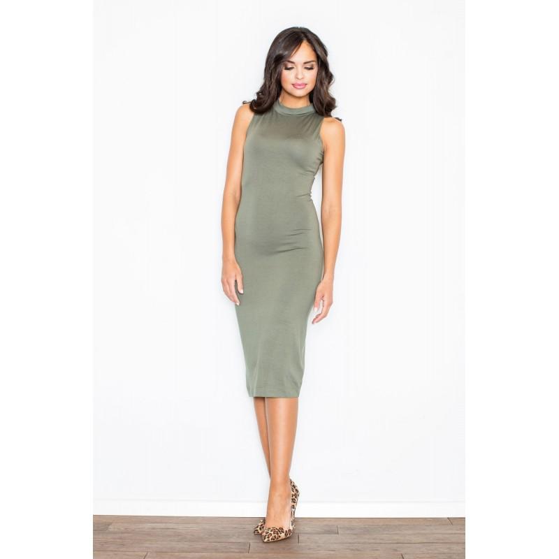 5f6eac38c6d5 Zeleno olivkové dámské polodlouhé šaty bez rukávů