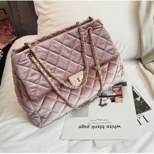 Dámská růžová manšestrová kabelka na rameno