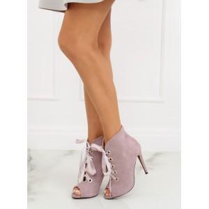 Dámské kotníkové boty na podpatku s otevřenou špičkou