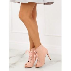 Růžové kotníkové boty na tenkém podpatku se stuhou