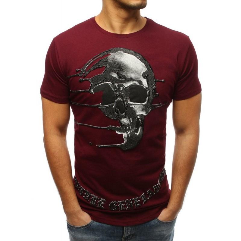 Pánské triko s krátkým rukávem bordové s originálním potiskem lebky 93145bf0c0