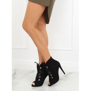 Luxusní černé dámské kotníkové boty s mašlí a otevřenou špičkou