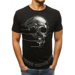 Motorkářské pánské černé tričko s potiskem lebky a krátkým rukávem