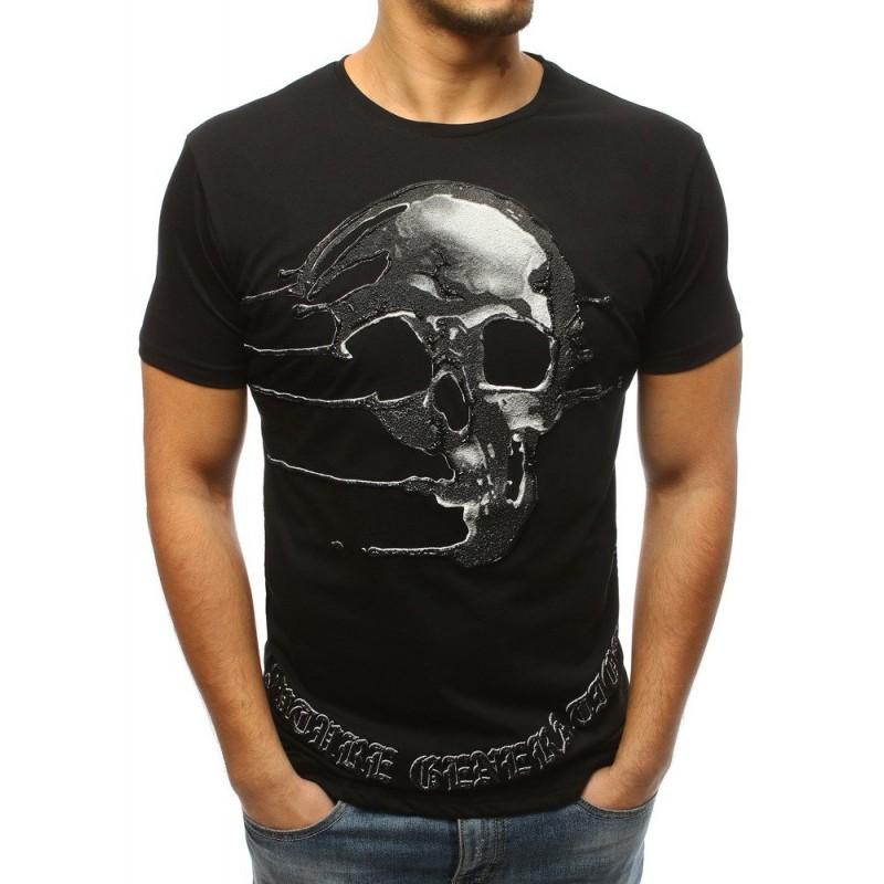 Motorkářské pánské černé tričko s potiskem lebky a krátkým rukávem 536a815d3f