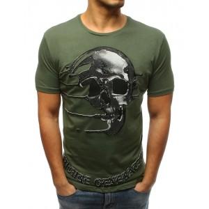 Originální pánské tričko v zelené barvě s designovým potiskem lebky