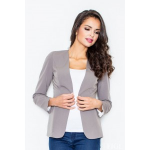 Elegantní šedé sako bez zapínání