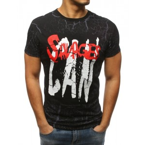 Ideální pánské tričko na volný den černé barvy s nápisem