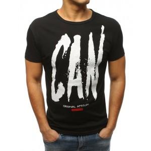 Originální pánské černé tričko na volný den s originálním nápisem
