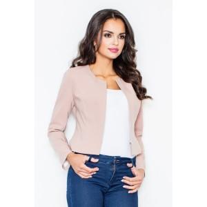 Světle růžové dámské sako s dlouhým rukávem