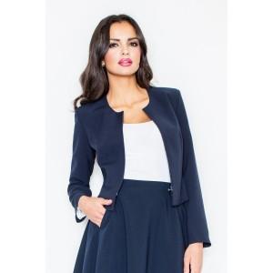 Stylové krátké dámské sako tmavomodré barvy bez límce