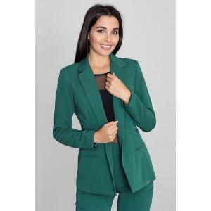 Dámské klasické zelené sako s límcem