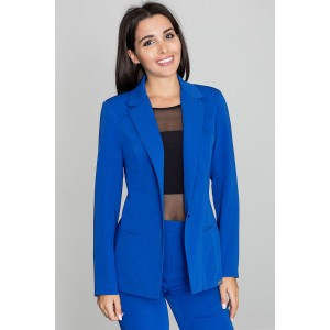 Modré dámské sako se zapínáním na jeden knoflík