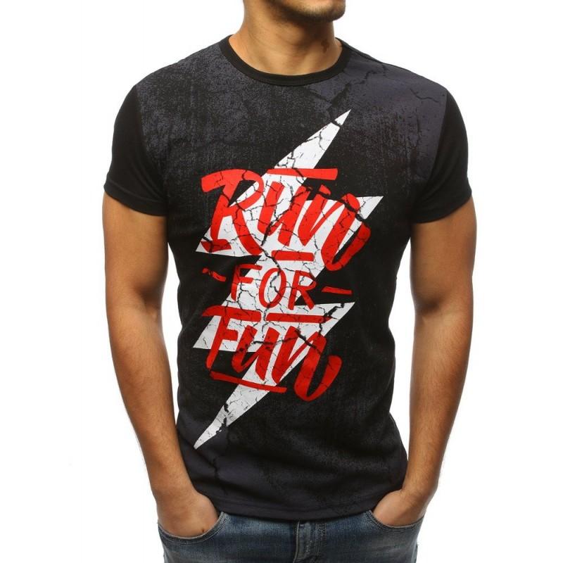 99492832eb56 Sportovní pánské tričko černé barvy s originálním designem a nápisem