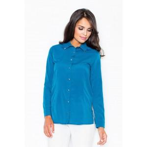 Dámská jemná košile modré barvy se zapínáním na knoflíky