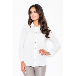 Bílá dámská elegantní košile s kovovými detaily