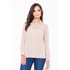 Jemná dámská košile béžové barvy bez kapes