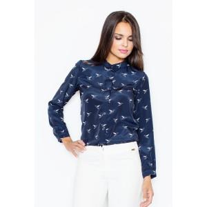 Elegantní jemná dámská košile tmavě modré barvy s ptačím motivem