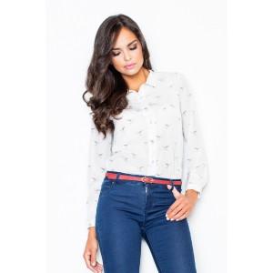 Bílá elegantní dámská košile s motivem ptáků