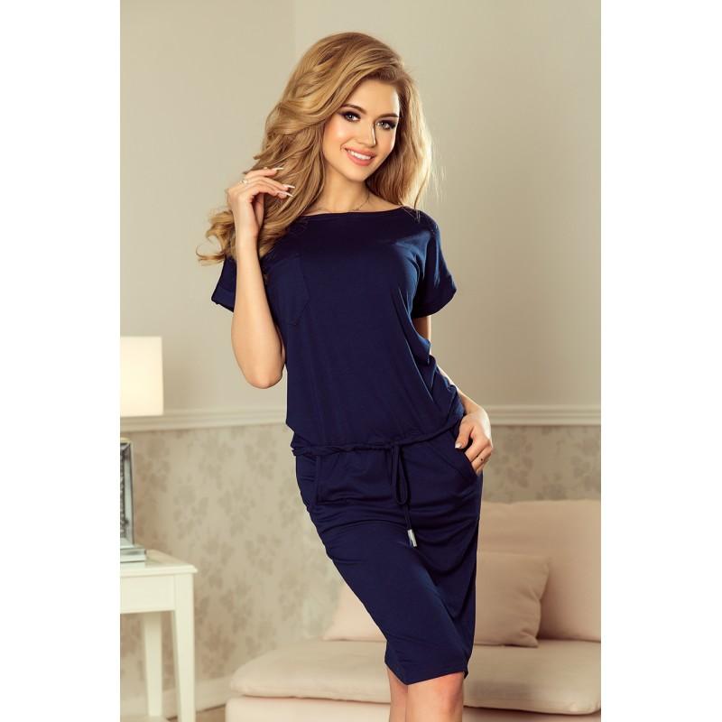 d0277d2b3fb5 Tmavě modré dámské šaty bez výstřihu s krátkými rukávy