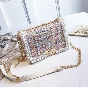 Dámská barevná elegantní crossbody kabelka s perličkami