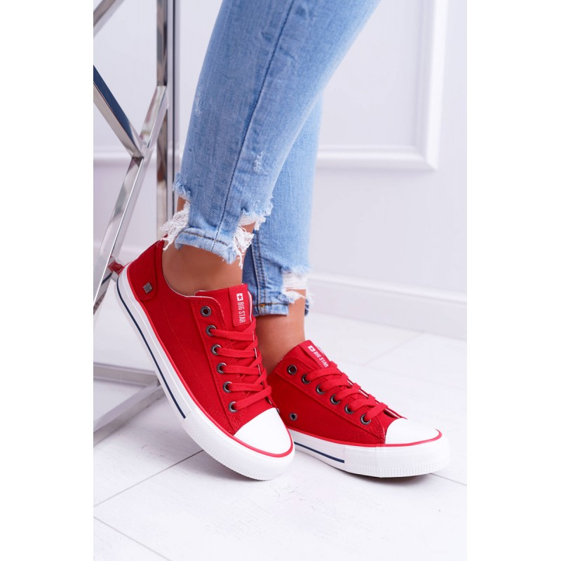 56000a1eec Stylové letní dámské plátěné tenisky Big Star v módní červené barvě