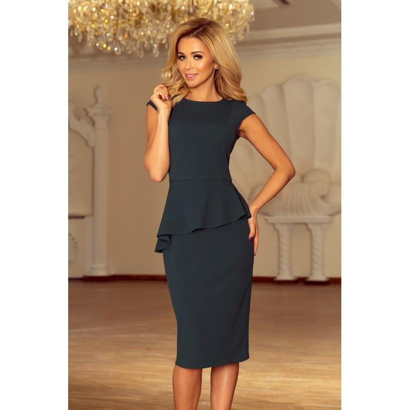 295b0b8821d8 Asymetrické šaty s krátkým rukávem tmavě zelené barvy