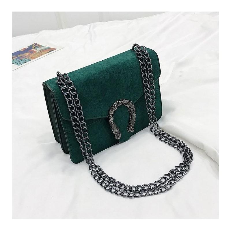 ae7170a2ad Zelená kabelka na rameno s velkou přezkou