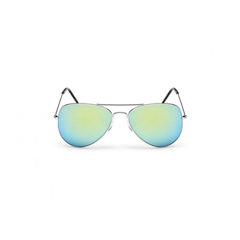 ddb059b0d Mentolové sluneční brýle pilotky se zlatým rámem