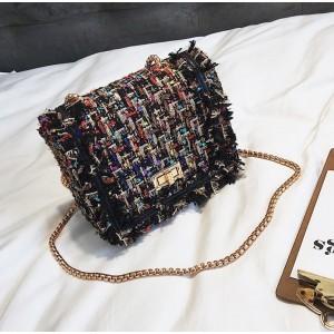 Dámská barevná kabelka crossbody se zlatým páskem