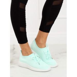 Sportovní dámské lehké tenisky nasouvací se šňůrkami v mentolové barvě