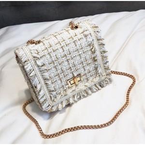 Bílo zlatá dámská crossbody kabelka