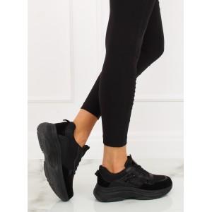 Sportovní dámské botasky na fitness v černé barvě s trendy designem