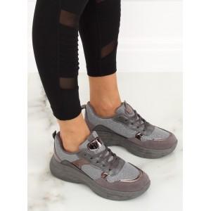 Originální dámské botasky v šedé barvě s metalickými doplňky