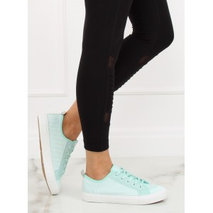 Krásné dámské boty v módní mentolové barvě na volný den