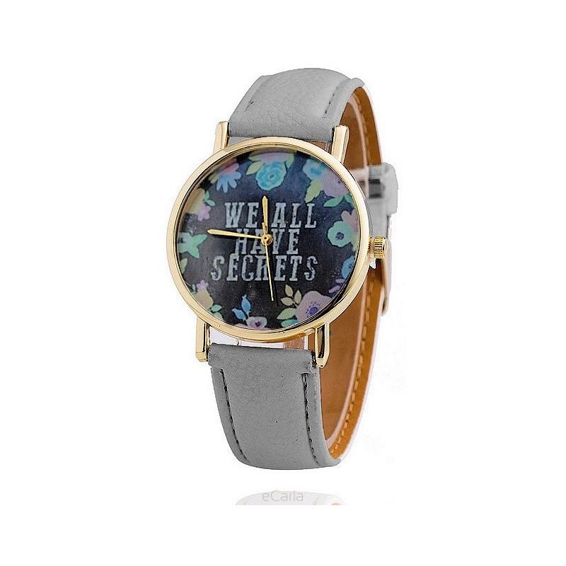Dámské náramkové hodinky s šedým páskem a květinovým ciferníkem 7ddfb047ee