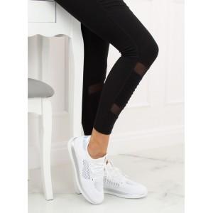 Bílé dámské botasky se šněrováním na běh s metalickými aplikacemi