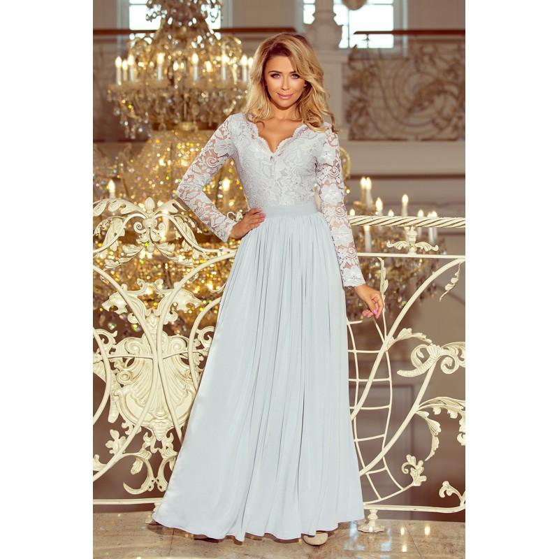 a28e8238087f Společenské šaty s dlouhým rukávem šedé barvy