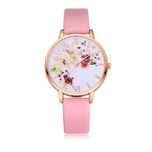 Dívčí náramkové hodinky růžové barvy s romantickým vzorem květů