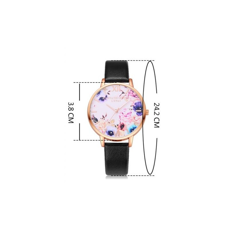 Světle modré hodinky dámské na ruku s růžovým květinovým ciferníkem 8f7653f891