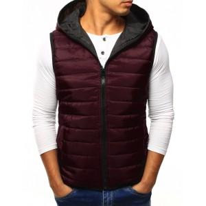 Bordó pánská prošívaná vesta s kapucí