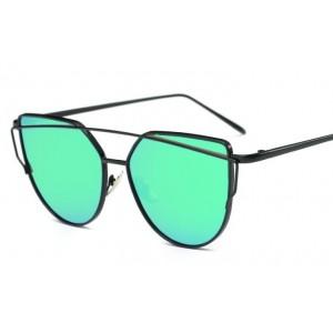 Zelené zrcadlové sluneční brýle s tenkým rámem černé barvy