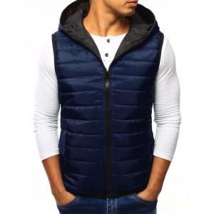 Pánská prošívaná vesta s kapucí modrá