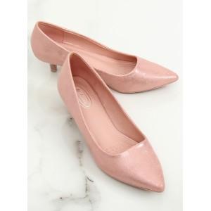 Romantické dámské lesklé růžové lodičky na nízkém podpatku