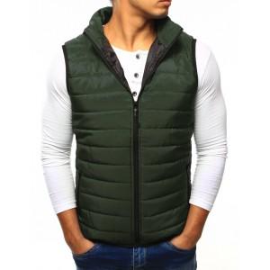 Pánská vesta bez kapuce v zelené barvě