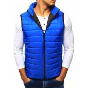 Modrá pánská prošívaná vesta v modré barvě