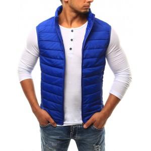 Pánská prošívaná vesta v modré barvě bez kapuce